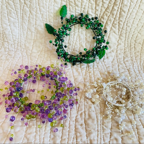 Beaded candle rings vintage